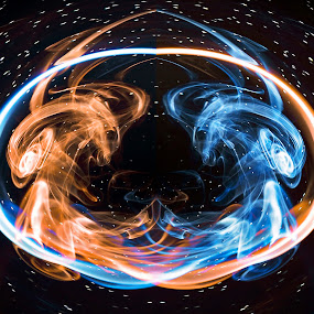 Fire and Ice by Elvis Pažin - Digital Art Abstract ( contrast, cold, ice, hot, smoke, fire )