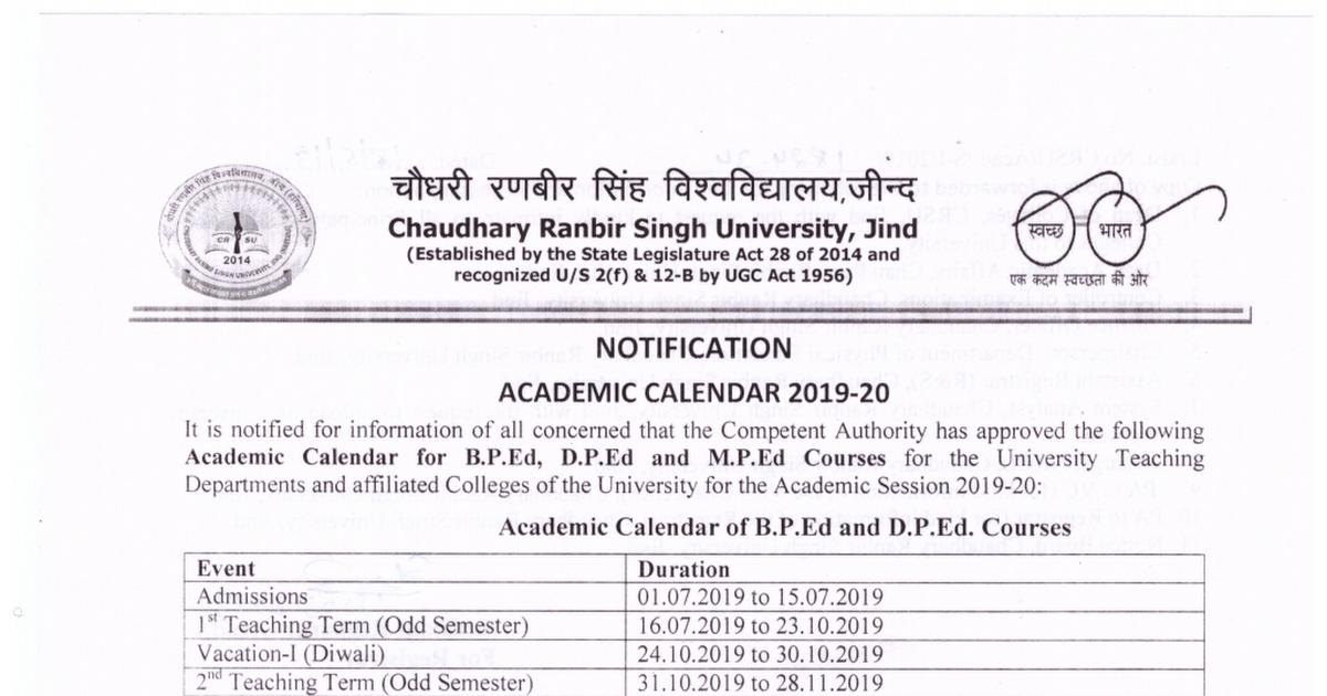 Academic Calendar 2019-16 Academic Calendar 2019 20 for B.P.Ed, D.P.Ed and M.P.Ed Courses