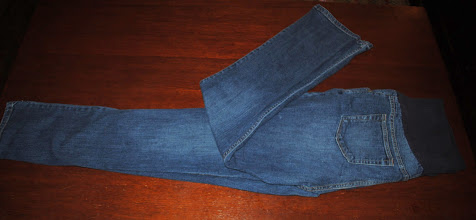 """Photo: Liz Lange Maternity Jeans Size 14. Over Belly Panel has 1.5"""" hole in back from pulling them up. Still very useable, rest of pants are very nice $5. Bootcut."""