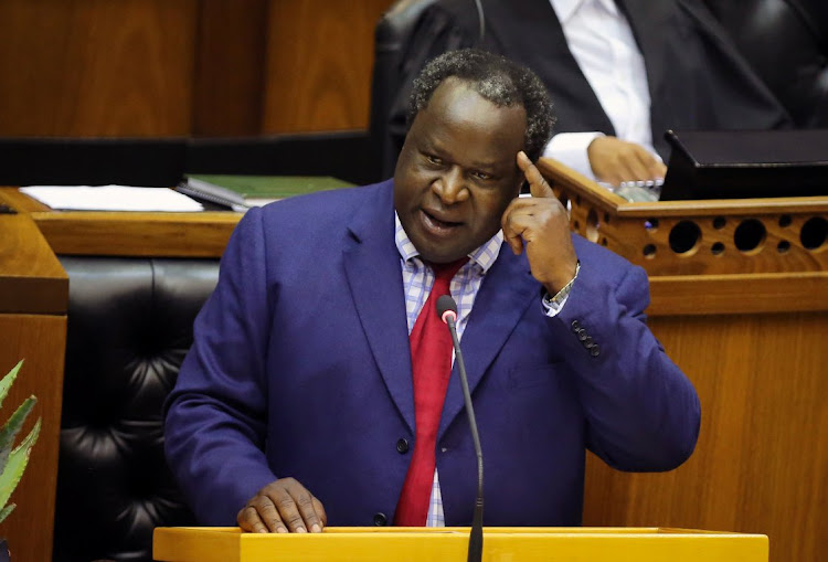 Finance minister Tito Mboweni delivers his Budget Speech at Parliament. Picture: REUTERS/SUMAYA HISHAM
