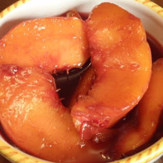 Red Wine Poached Peaches