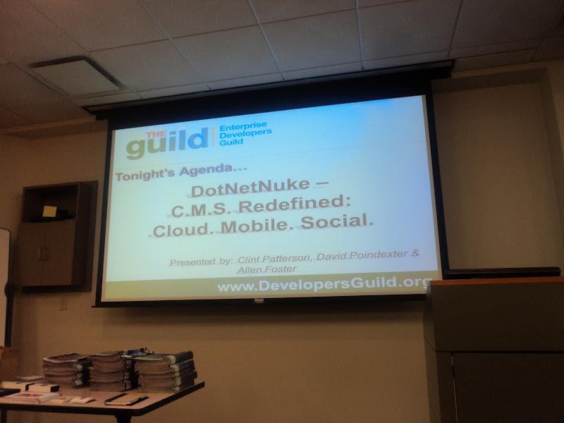 Photo: DevGuild Pre-presentation scrolling Powerpoint
