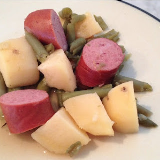 Slow Cooker Smoked Sausage, Green Beans, and Potatoes.