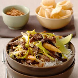 "Thaise Sweet Chili ""beef"" met mini-maïs en pandan rijst"