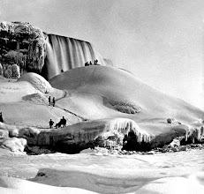 Photo: People on ice, Niagara Falls, New York.