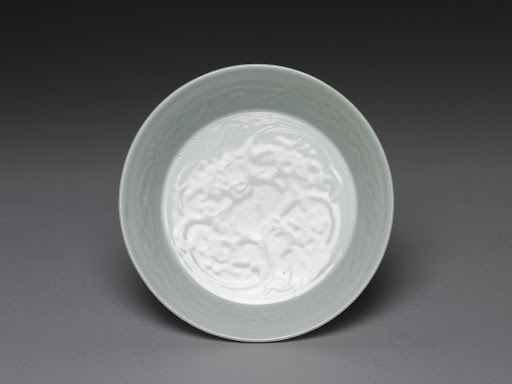 Bowl with Impressed Lotus Pattern in Egg-white Glaze