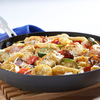 Lemon & Pepper Chicken with Penne and Vegetables.
