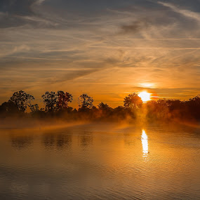 Sunrise Pond by Debbie Slocum Lockwood - Landscapes Sunsets & Sunrises