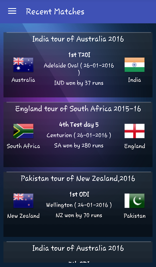 Live Cricket Scores & Updates - Total Cricinfo- screenshot