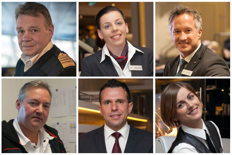 Clockwise from top left: Viking Star's captain, guest services manager, cruise director, a bar server, general manager and chief engineer.