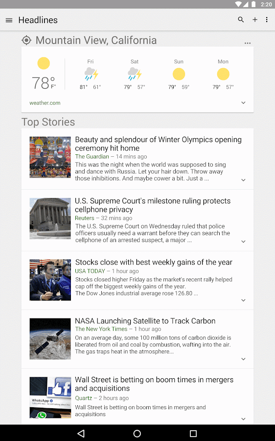 google news and weather app