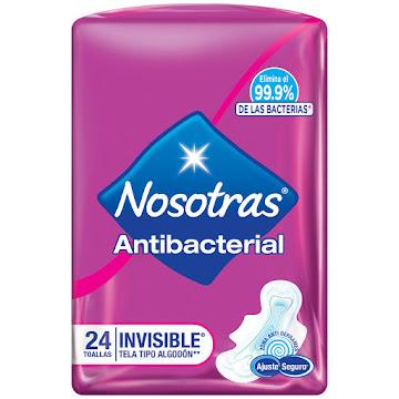 Toallas Nosotras   Invisible Antibacterial  x 24Und