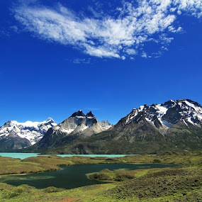 Torres del Paine by Tadas Jucys - Landscapes Mountains & Hills ( park, patagonia, national, lake, travel, panorama, chile, mountains, torres, blue, del, paine, torre, panoramic )