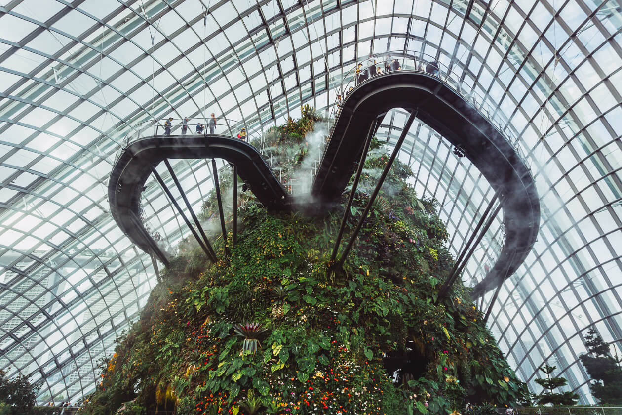 Cloud Forest skybridge in Singapore's Garden's by the Bay.