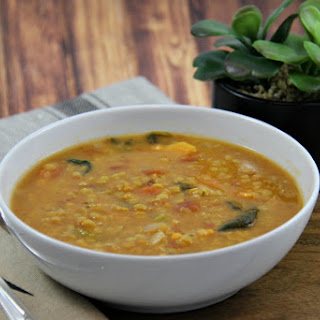 Slow Cooker Coconut Red Lentil and Carrot Soup.