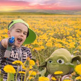 Yeaaaa, we love Star Wars !! by Inna Fangel - Babies & Children Child Portraits ( field, star wars, children, yellow, kids,  )
