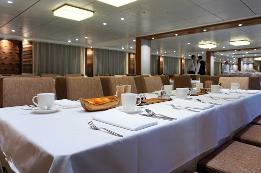 The main dining room on Viking Einar provides open seating to passengers.