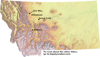 """Photo: Ear Mountain is 125 miles north of Helena.The Rocky Mountain Front starts roughly 50 miles north of Helena and extends up to Glacier Park. It is where the mountains abruptly end and the prairie begins. Travelers approaching from the east will see """"the front"""" of the mountains. The asterisks show the locations of hikes that I've featured on my blog so far."""