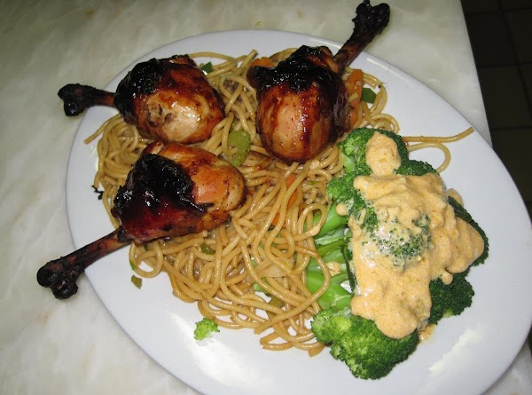 When ready, remove legs from skillet, arrange on plate with rice or lo mein...