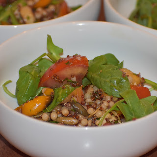 Roasted Peppers, Heirloom Tomatoes and Arugula Salad with Israeli Couscous, Quinoa, Pineapple and Feta.