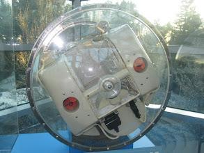 """Photo: Sputnik 2 """"dog cabin"""" replica... wow, so small!"""