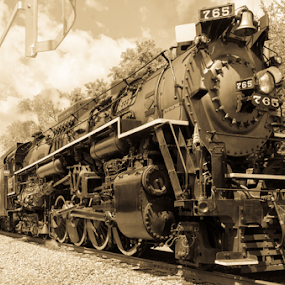 Engine 675 track side by Jim Davis - Transportation Trains ( train travel, steam train, railroad, raildroad tracks, excursion )