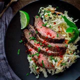 Chili Garlic Steak With Minty Napa Cabbage Slaw