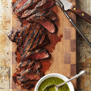 Grilled Flat Iron Steaks with Chimichurri.