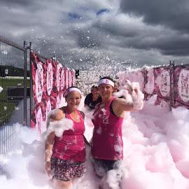 Fighting the Foam by Dawn Simpson - Sports & Fitness Fitness ( suds, girls, ladies, pink, fun, foam,  )