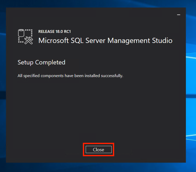 SQL Server Management Studio 2017 Installer completed.