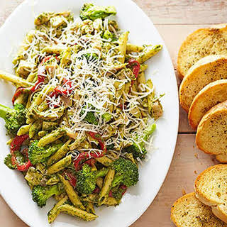 Pesto Penne with Deli-Roasted Chicken.