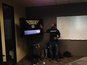 Photo: Jorge Garifuna kicked things off with an awesome presentation about how to create cross platform mobile apps with HTML 5 and CSS.