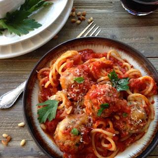 Spaghetti and Fontina Stuffed Meatballs