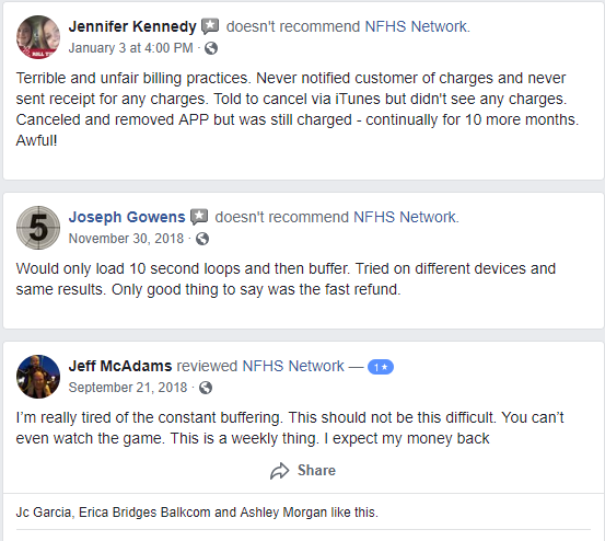NFHS complaints buffering payment issues