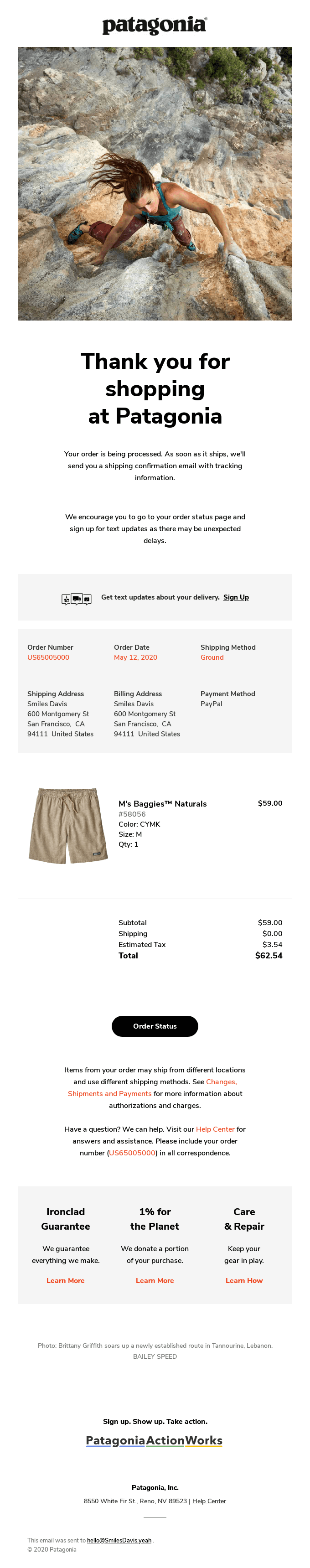 Patagonia order email. Text reads: Thank you for shopping at Patagonia. Your order is on its way.
