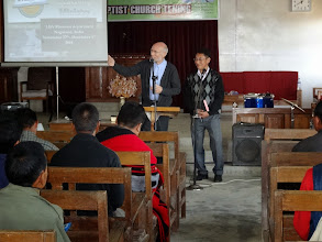 Photo: Brother Merle teaching with brother Ngulie Rentta as his interpreter. The Liangmai ethnic people have their own tribal language.