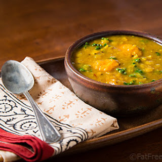 Yellow Split-Pea Soup with Sweet Potatoes and Kale.