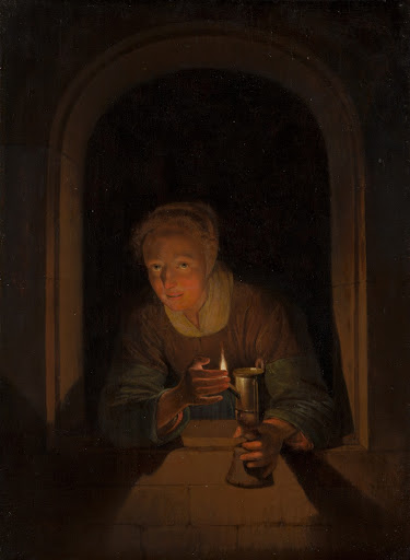 Young Woman Holding a Lamp