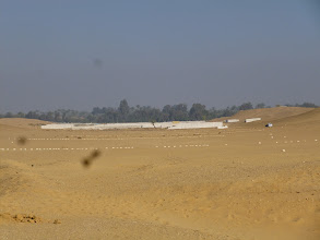 Photo: New outlines for further tomb constructions less than 50 meters from the Mortuary Temple of King Snefru.