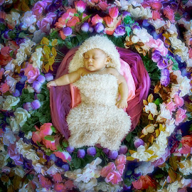 Baby in Flower by Charles Mawa - Digital Art People ( baby portrait, digital art, baby girl, charlemawa, baby, photography )