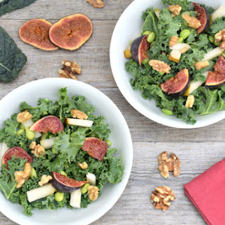 Kale, Edamame, Pear, Fig & Walnut Salad [vegan]