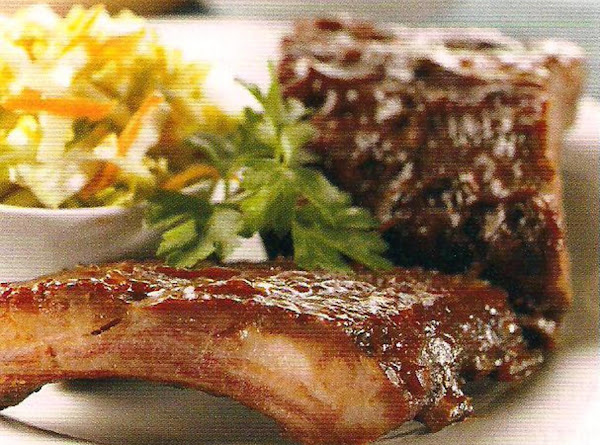 Sauced Ribs With Summer Cole Slaw Recipe