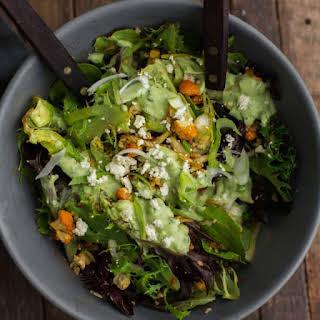 Harissa Roasted Cauliflower Salad Lemon-Avocado Dressing.