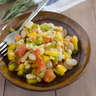 Lima Bean Succotash with Garlic-Rosemary Dressing.