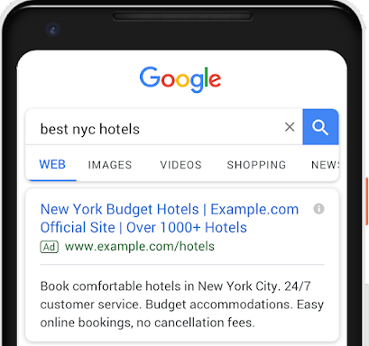 Third headline and second description in text ads