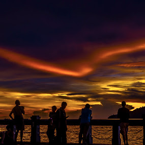Sunset Silhouette  by Fredzex Foo - Landscapes Sunsets & Sunrises ( sunset, silhouette, cloud, people, evening, night scape, city )