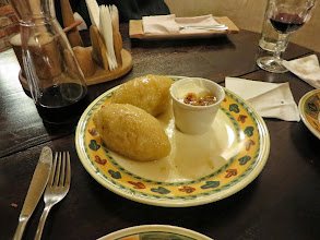 Photo: Zepplins, a traditional Lithuanina food - a potato dough stuffed with cheese