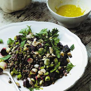 Lentil, Beetroot and Hazelnut Salad With a Ginger Dressing