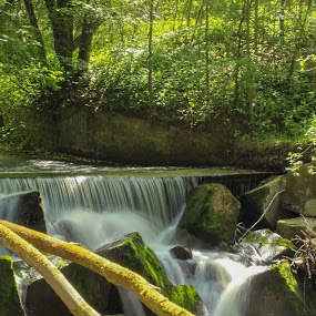 Gore Glen Waterfall by Louise Corr - Nature Up Close Water ( waterfall water river rocks trees )