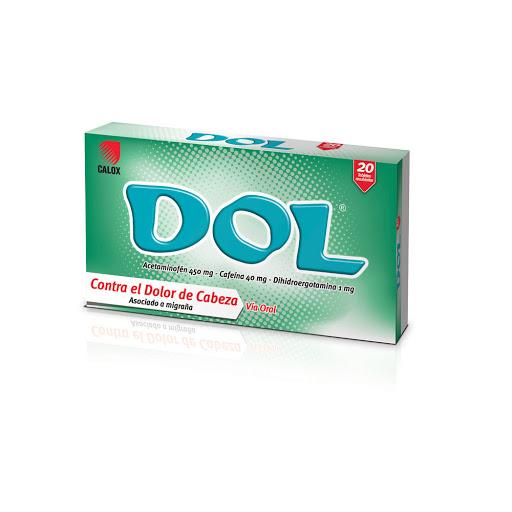 Acetaminofen + Cafeina + Dihidroergotamina Dol 450/40/1mg X 20 Tabletas Calox
